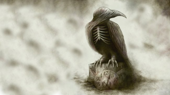gothic-raven-skeleton-dark-wallpaper-creepy-abstract-wallpapers-bird-clock-drawing