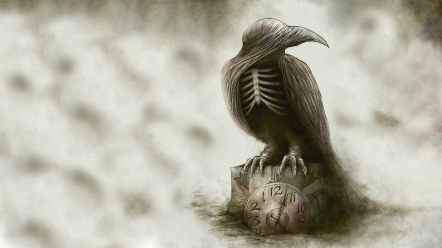gothic-raven-skeleton-dark-wallpaper-creepy-abstract-wallpapers-bird-clock-drawing