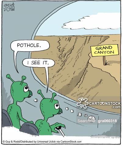 'Pothole.' 'I see it.'
